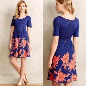 Anthropologie Blushed Blooms Blue Mini Dress Small